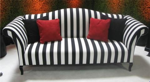 encore black white stripe rolled arm sofa town country event rh pinterest com