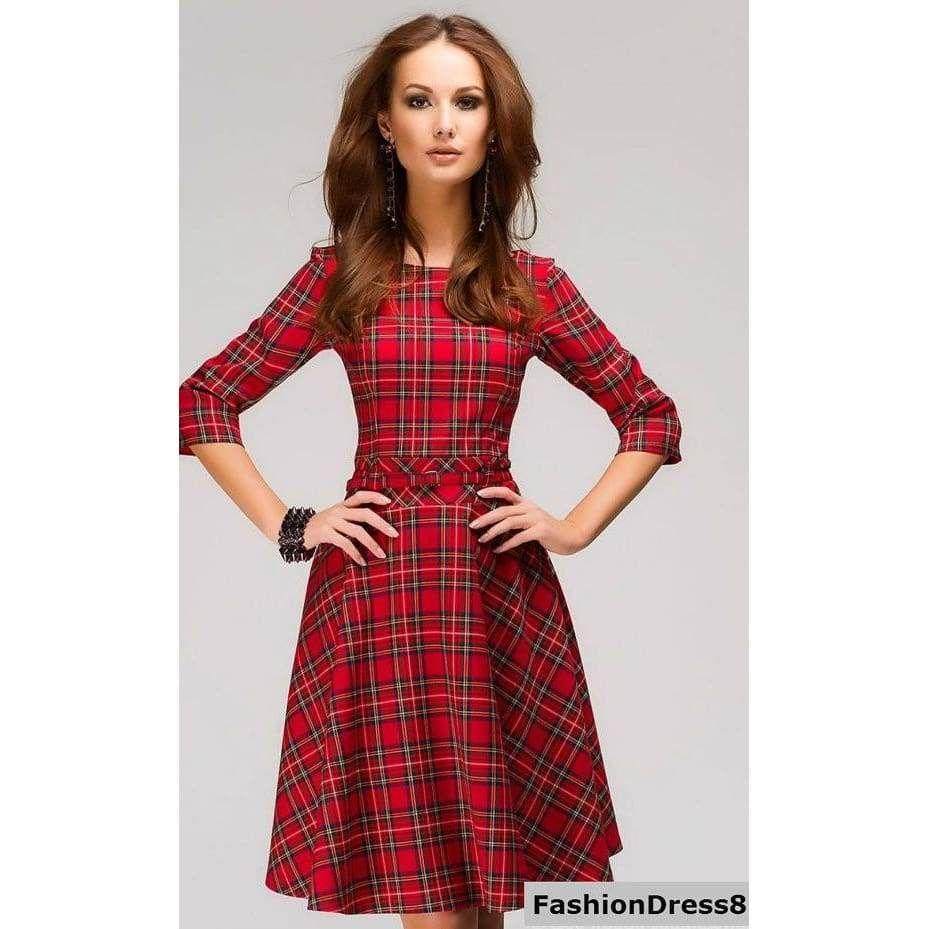 Red tartan dressplaid mini dresscasual flared dress long sleeve