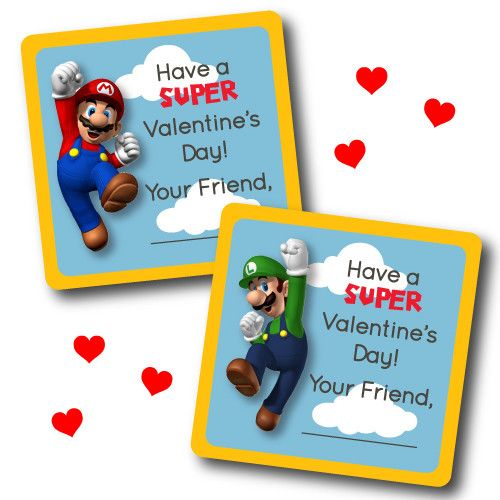 Super Mario Printable Classrom Valentines - Super Mario Birthday Party Ideas & Supplies