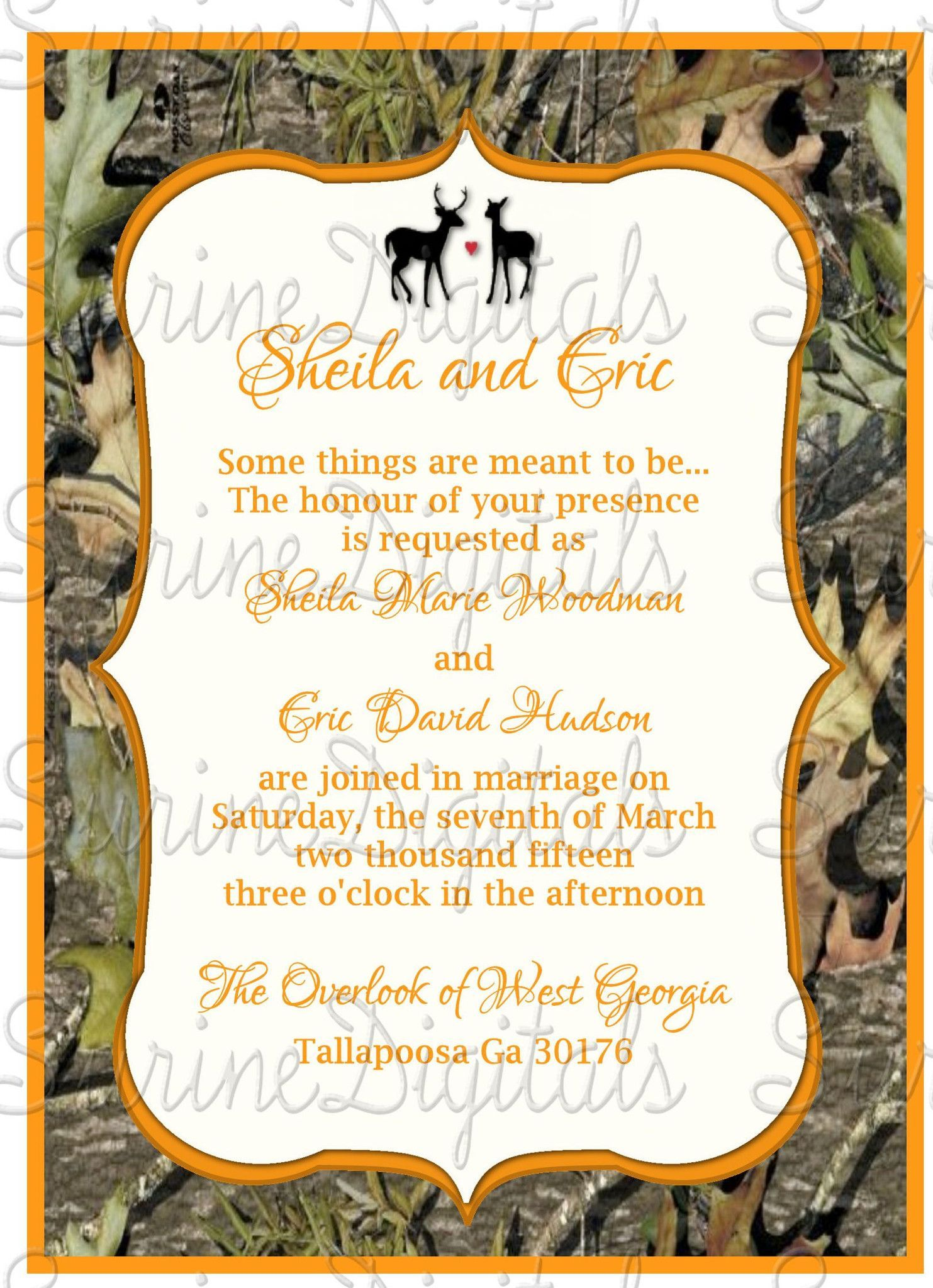 Camo Wedding Invitation with Buck and Doe/ Blaze Orange with Camo ...
