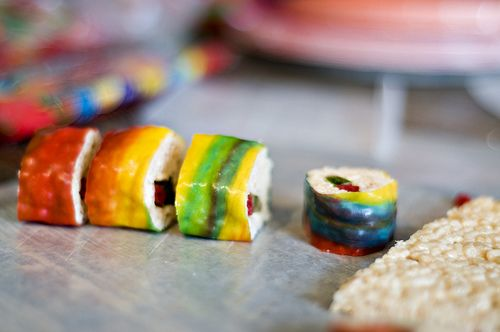 """These candy sushi are so cute! What a great activity for kids. I love how they use Swedish fish for the """"raw fish."""""""