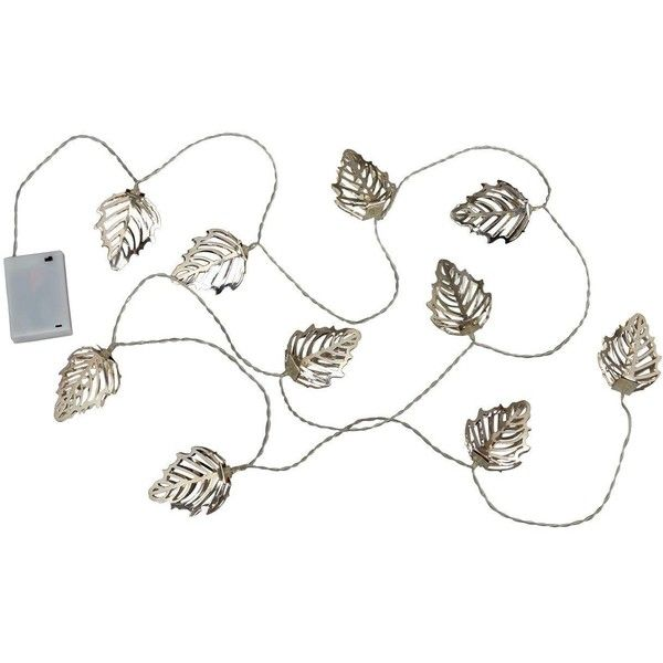 Metal Leaf Battery Operated String Lights (€26) ❤ liked on Polyvore featuring home, lighting, battery operated lights, battery operated outdoor string lights, outdoor lighting, outdoor light string and battery operated lamps