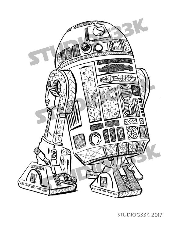 digital star wars r2d2 zentangle printable coloring sheet products rh pinterest com