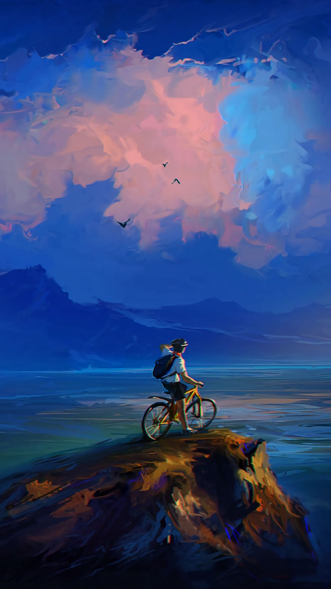 Tap to download rock cyclist cliff art wallpaper