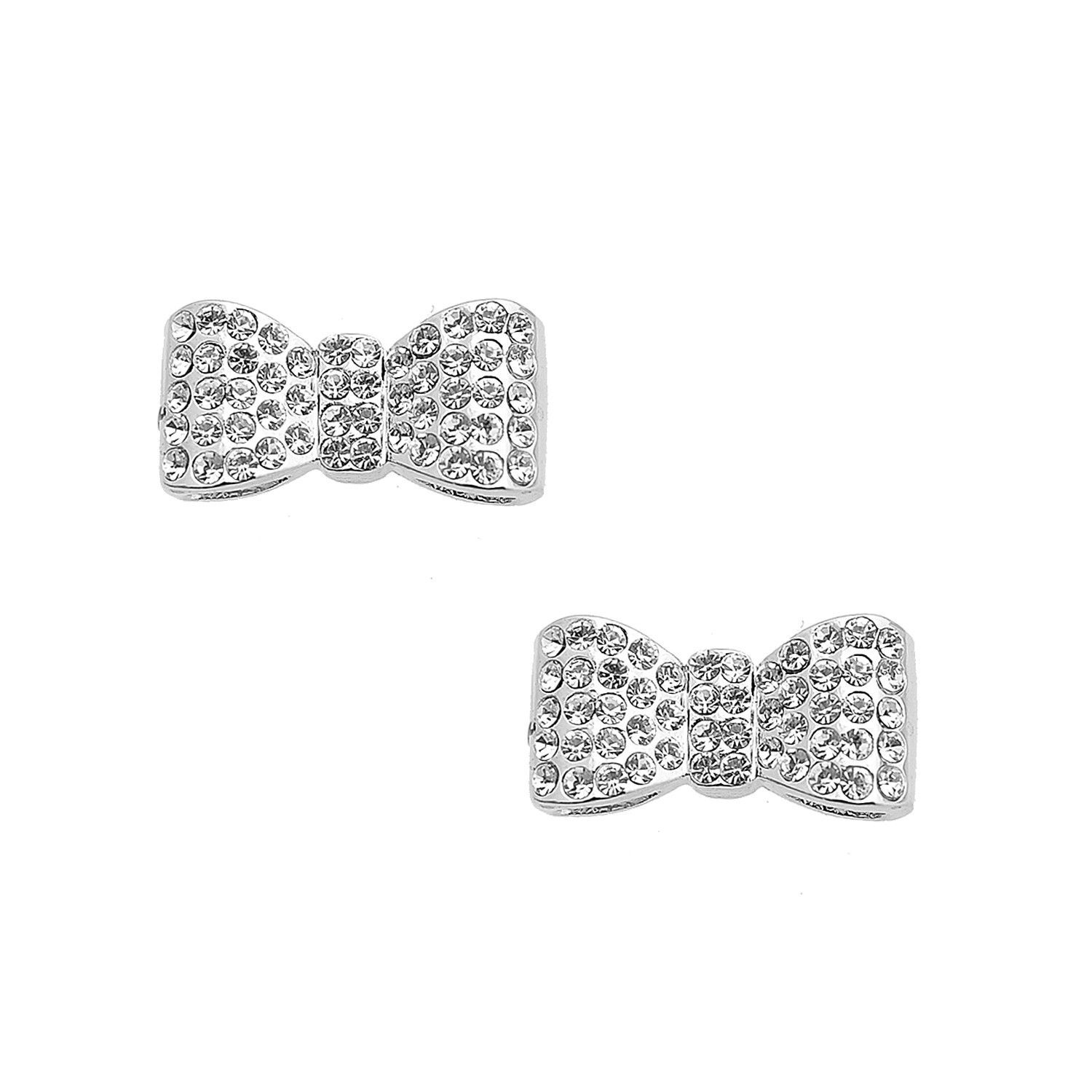 Silver Plated Crystal Cute Bow Tie Ribbon Earrings Crystals Pink
