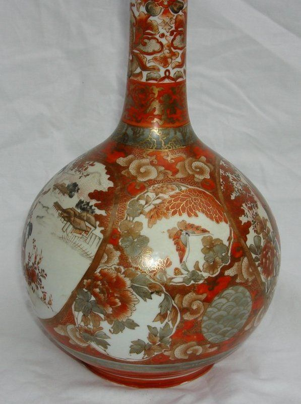Antique Japanese Kutani Vase The Red And Gold Tones Are Great For Handmade Earrings Or A