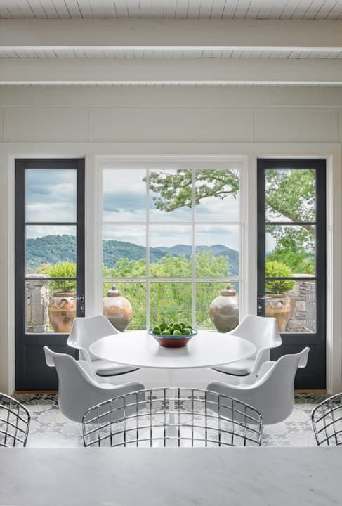 White, Bright Kitchen With Modern Chairs And A Great Mountain View!  Architecture By Samsel