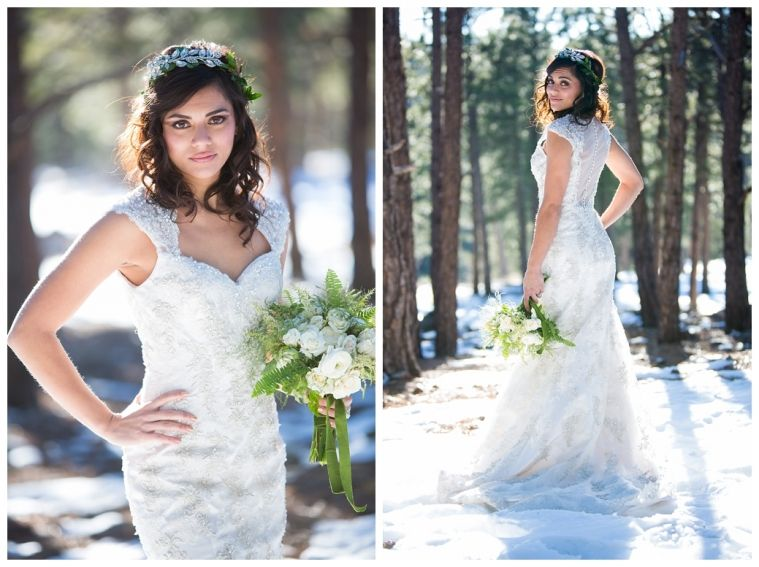 Bride in snow - Pronovious gown from The Bridal Collection Denver