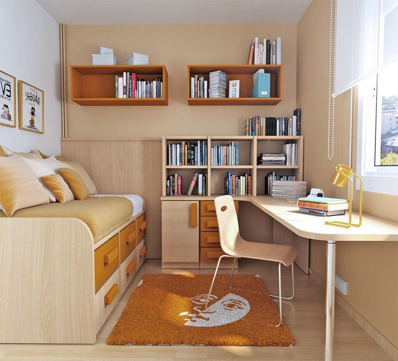 small bedroom ideas%0A Small Teen Bedroom Design With Orange Colors Foto Image