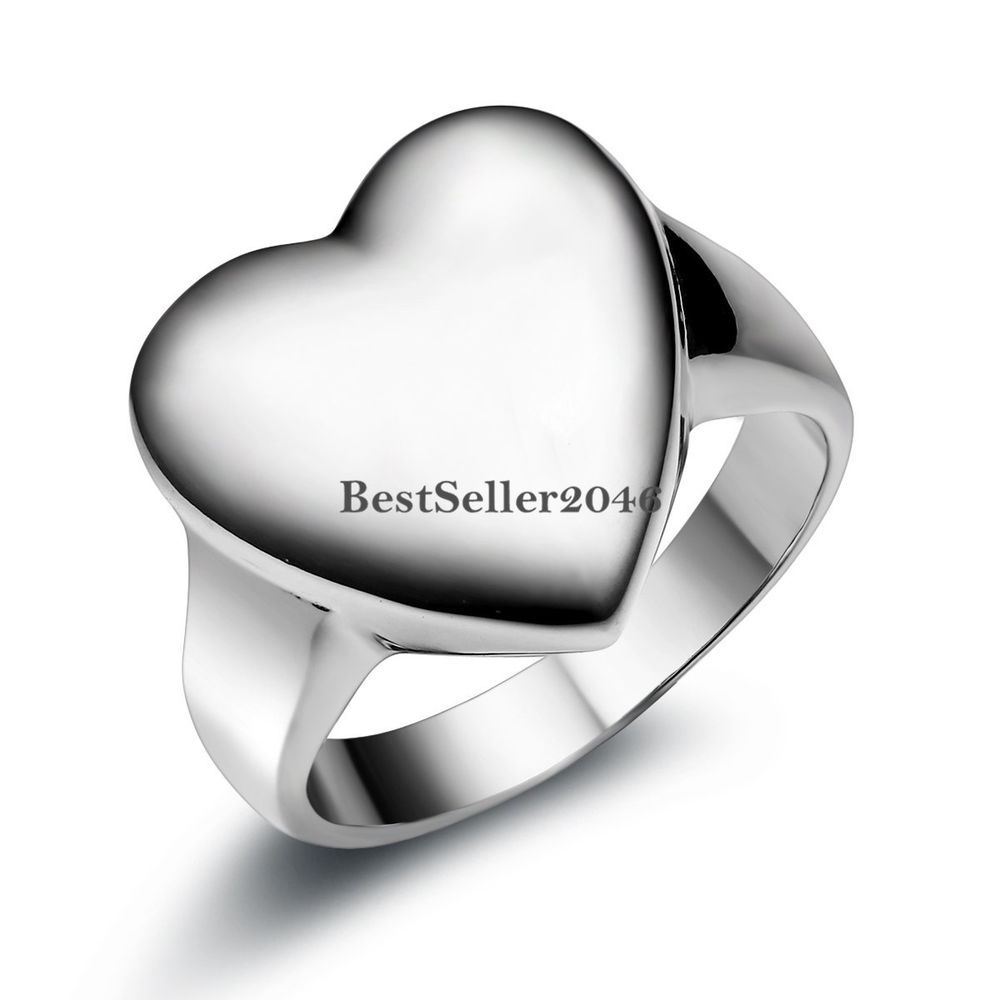 Silver Stainless Steel Polished Big Heart Signet Love Promise Engagement Ring #Unbranded #Signet