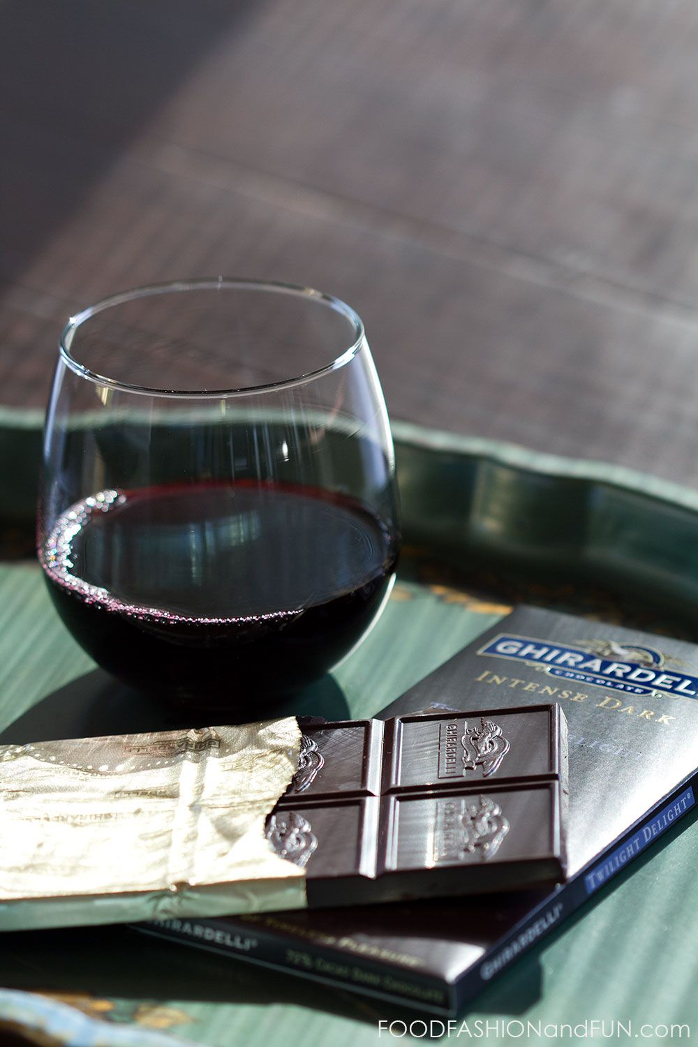 Ghirardelli #IntenseDark Chocolate + Wine is a must.  Upload a photo of your favorite pairing here - http://r.linqia.cc/c5ab250