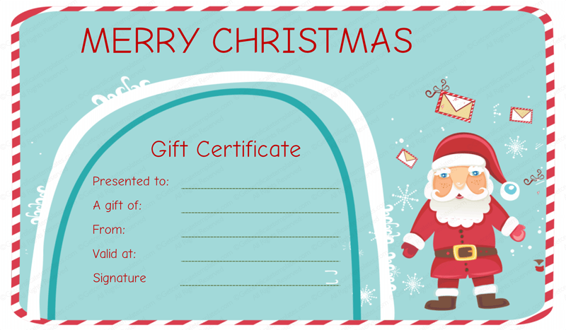 Christmas Certificates Templates Free Gift Certificate For Services Template  Christmas Certificates Templates Free