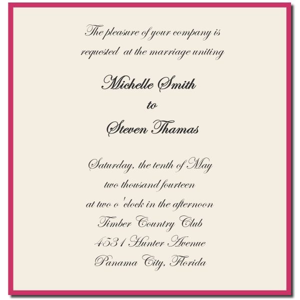 Wedding Invitations Wording From Bride And Groom  Wedding
