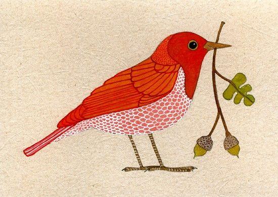 Geninne zlatkis red bird with acorns original watercolor