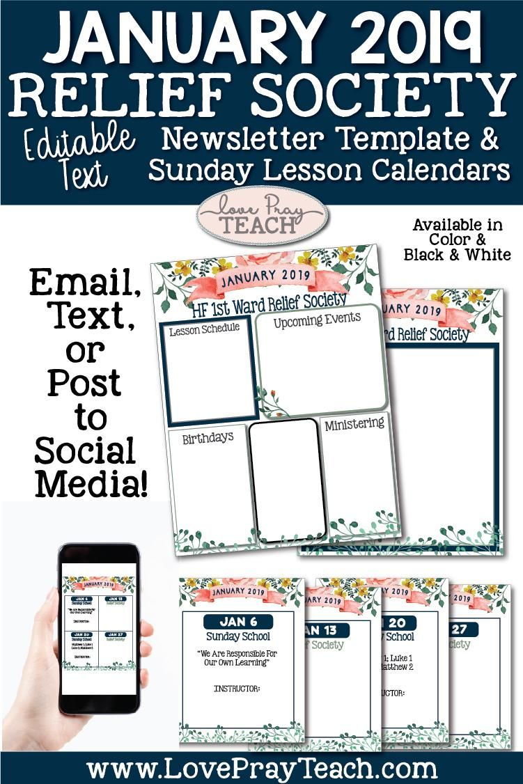 january 2019 editable newsletter template and relief society sunday calendars perfect for relief society