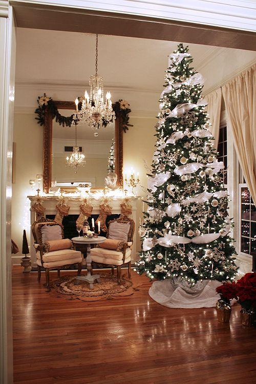 Pretty French Xmas Decor 12 Ft Tree