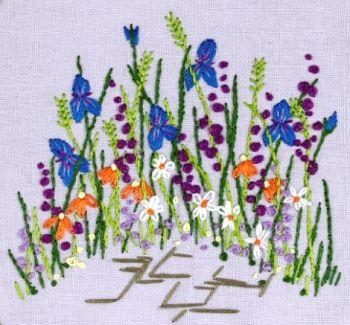 JAJ11 Irises Printed Embroidery Kit by Josie Storey Garden border
