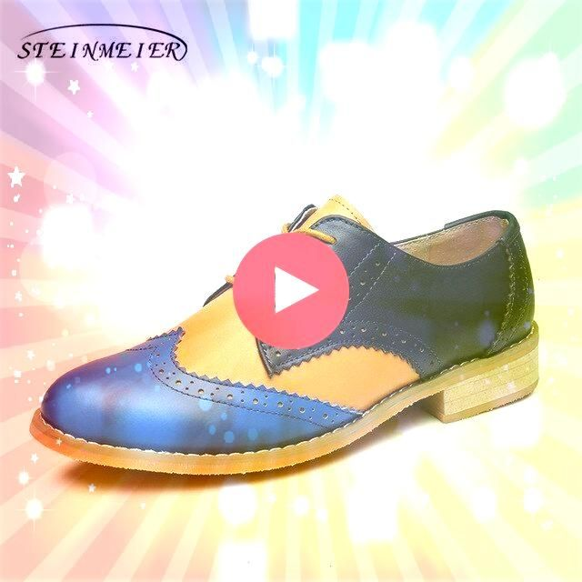 oxford shoes genuine leather flats brown flat shoes lace up vintage oxfords shoes with  Women oxford shoes genuine leather flats brown flat shoes lace up vintage oxfords...