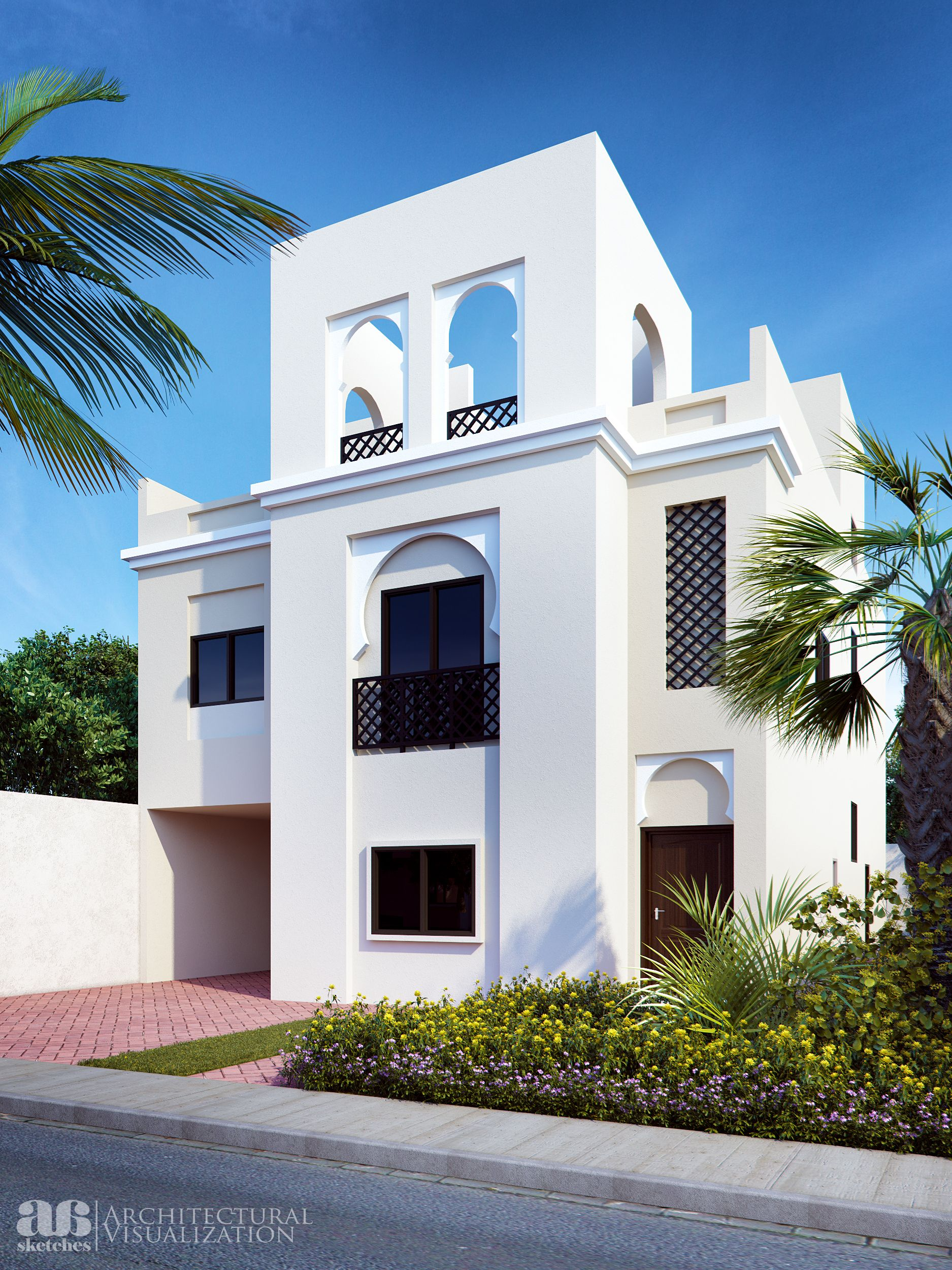 Proposed 3d photo rendering of arabic style villa villa for Arabian home designs