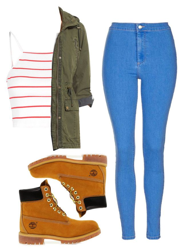 """""""Untitled #97"""" by alisonennik on Polyvore featuring Timberland, Topshop, Glamorous and Levi's"""