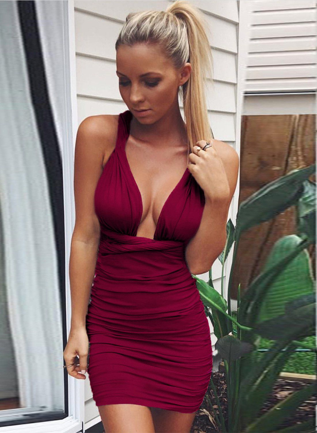 dadb9decc6a Deep V Neck Bandage Ruched Bodycon Club Dress