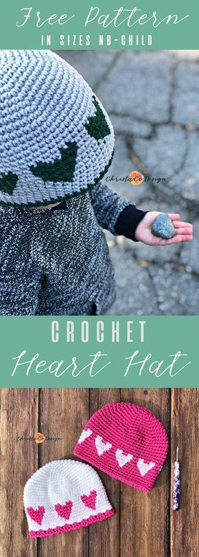 Crochet Heart Hat Free Pattern | Strickmütze, Babysachen und Häckeln