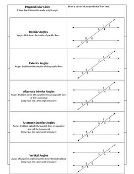 Have Students Practice Vocabulary For Parallel Lines Cut By A Transversal!  Students Will Be Able