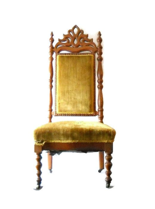 Victorian Revival Parlor Chair Gentlemans High Back Chair Late