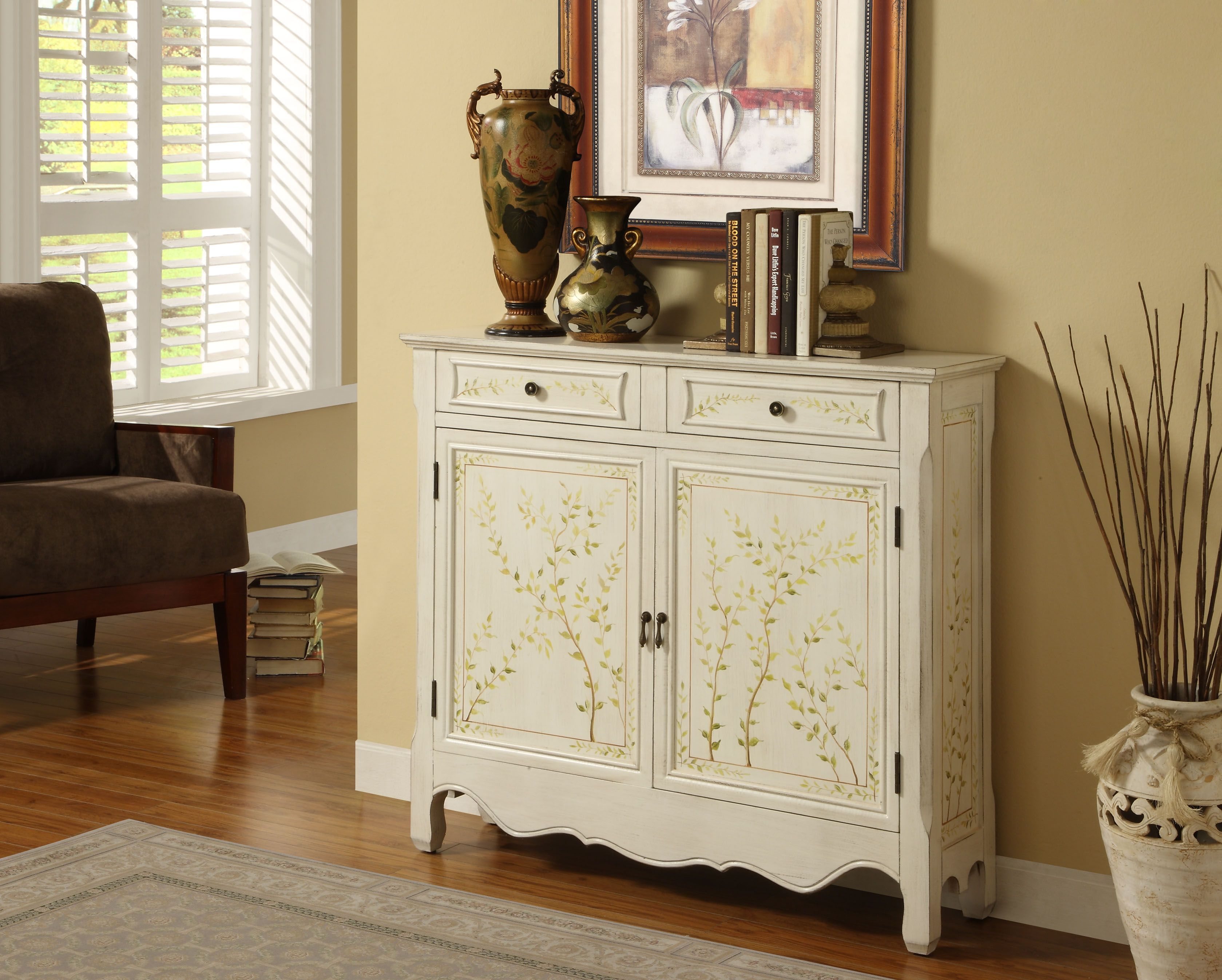 White Hand Painted 2 Door Console Powell Furniture
