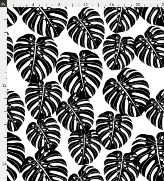 Banana Leaf Wallpaper Monstera / Tropical Palm Black White