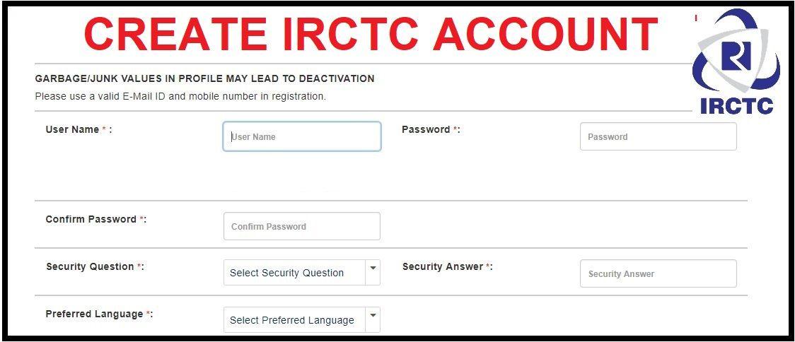 Irctc Registration Irctc Create New Account Online Training