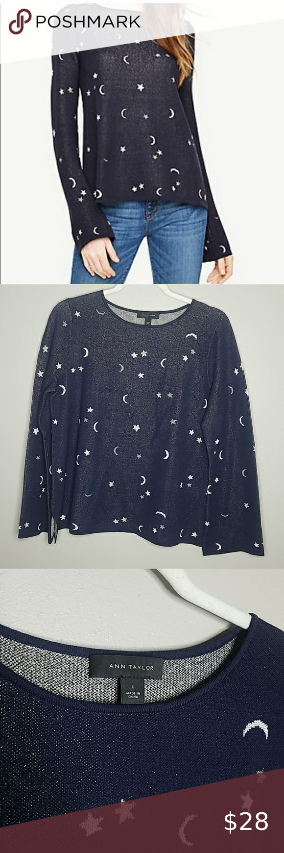 Ann Taylor Moon and Stars Sweater, Large Ann Taylor Moon and Stars Sweater in Navy, Gold and White, Size Large.  69% Viscose, 21% Nylon, 5% Polyester, 5% Metallic.  Measures approximately 24