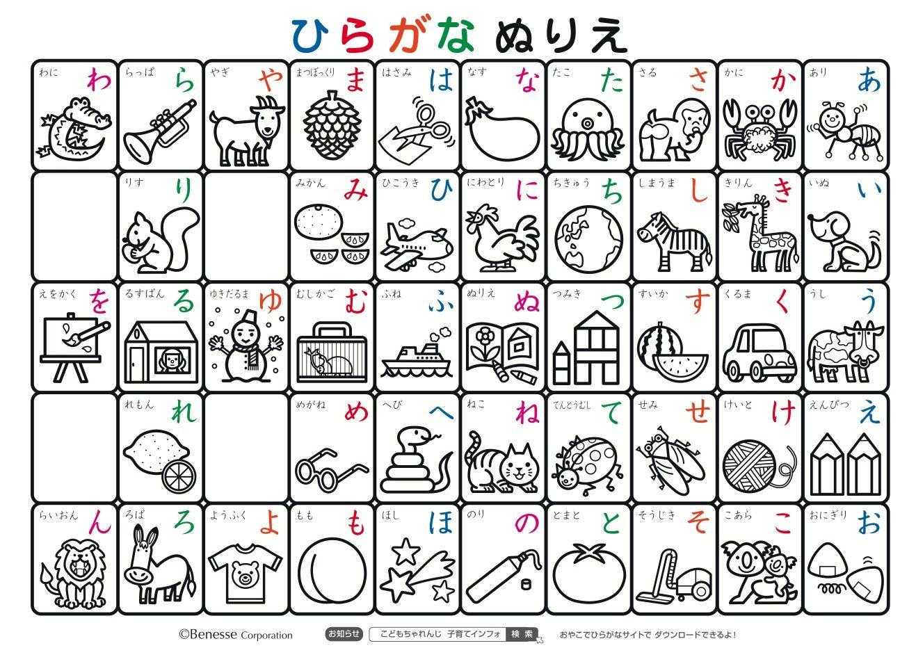あいうえお表(あいうえおひょう)AIUEO Chart 平仮名表(ひらがなひょう) Hiragana