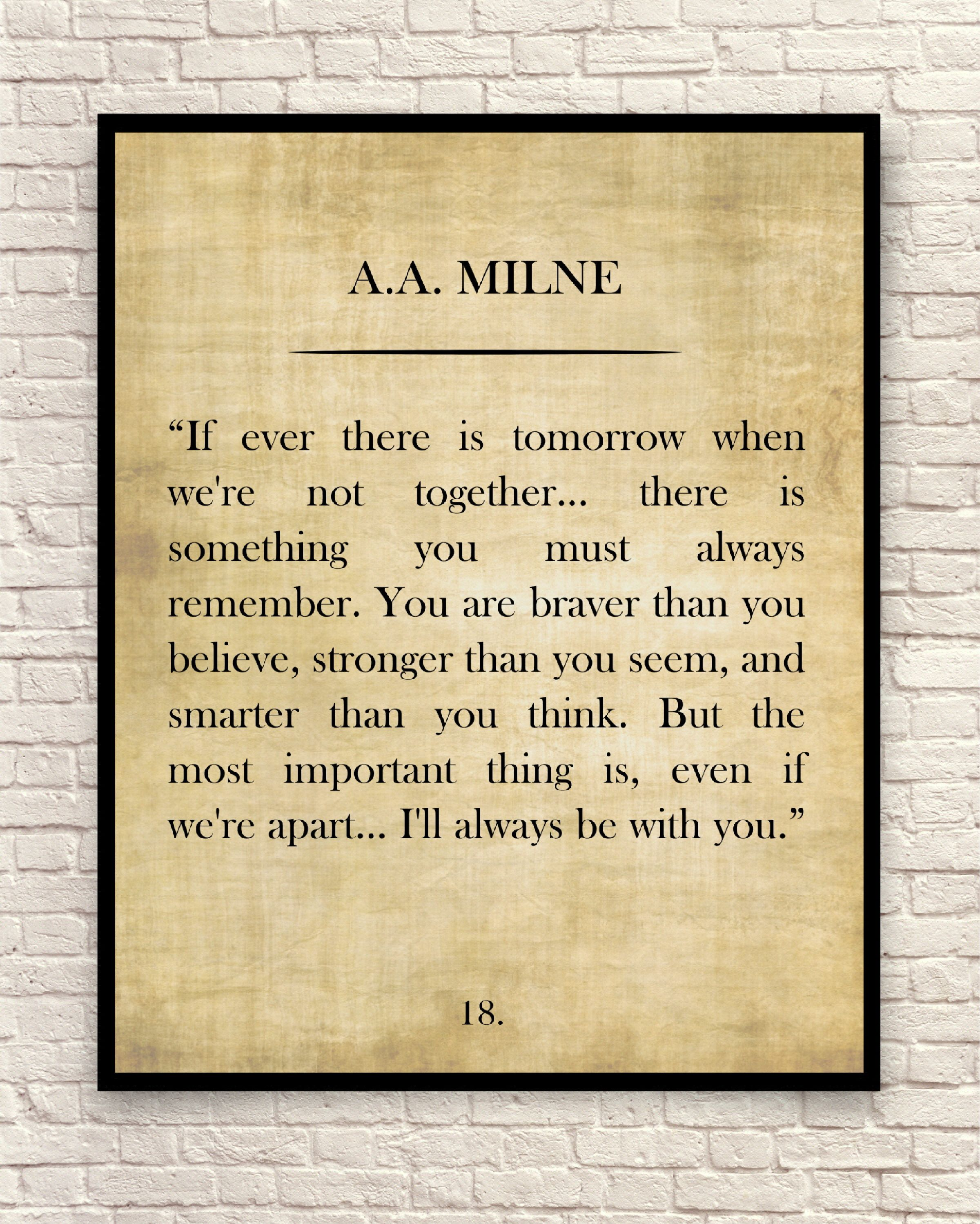 A. A. Milne Quote, Winnie the Pooh Quote, Custom Art Print, Book ...