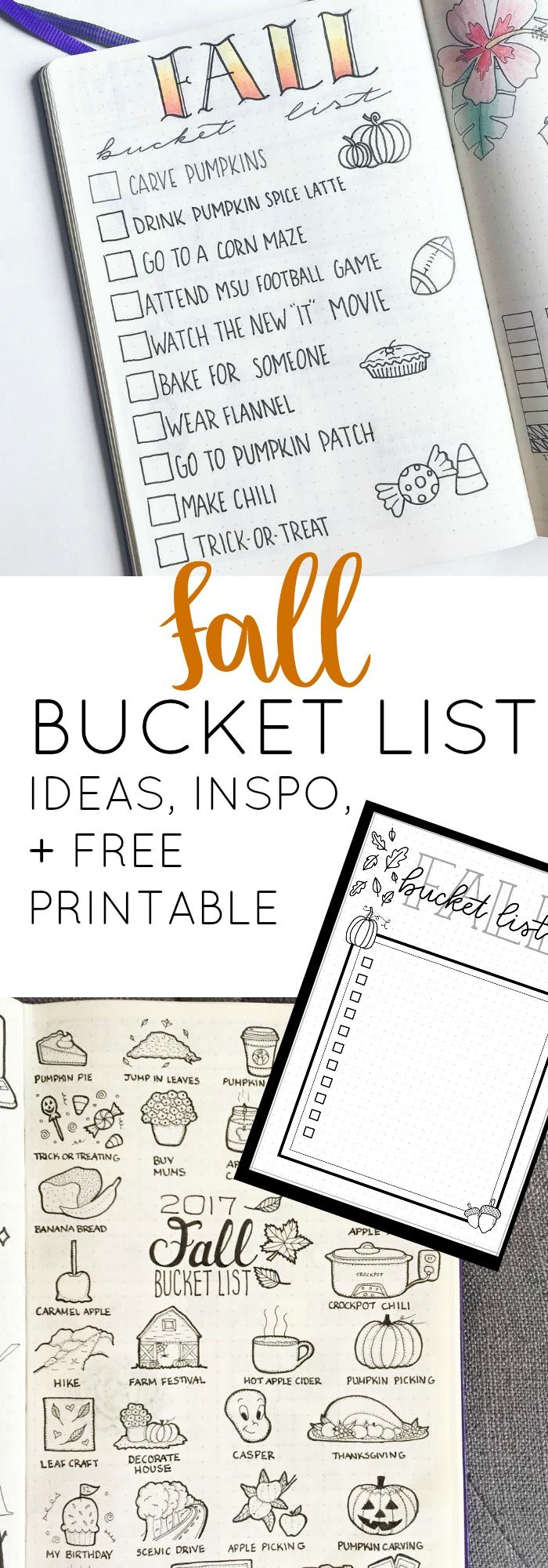 Fall Bucket List Inspiration for Your Bullet Journal + FREE Printable ⋆ The Petite Planner