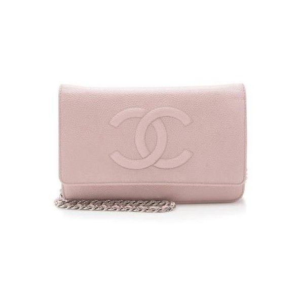Pre-Owned Chanel Caviar Leather Timeless CC Wallet on Chain Bag (€1.580) ❤ liked on Polyvore featuring bags, handbags, pink, leather purses, chanel, chanel handbags, 1920s handbag and chain handbags
