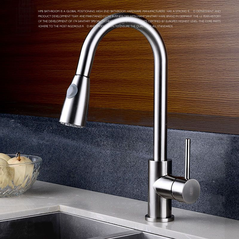 Quality Brushed Chrome Kitchen Faucet Mixer Tap Swivel Spout Pull ...