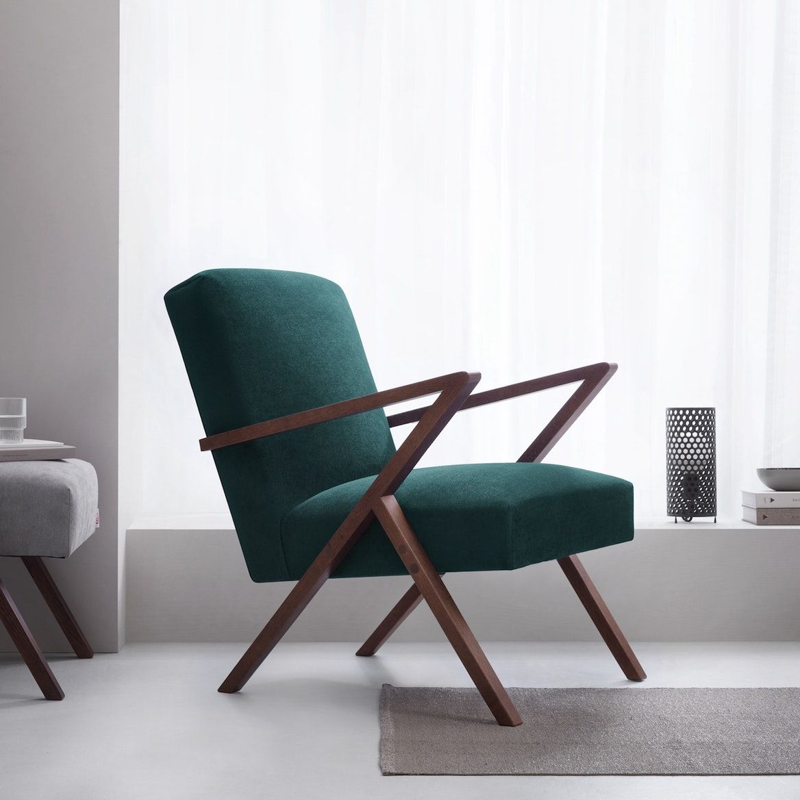 Retrostar Chair Velvet Line In Hunter Green Green Velvet Chair