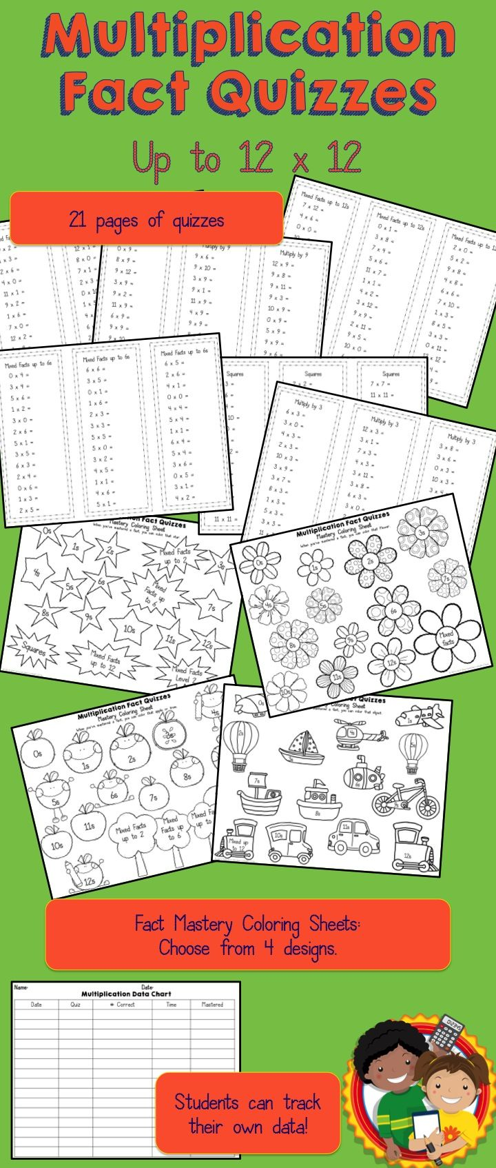 Multiplication Fact Quizzes   Multiplication facts, Recording sheets ...