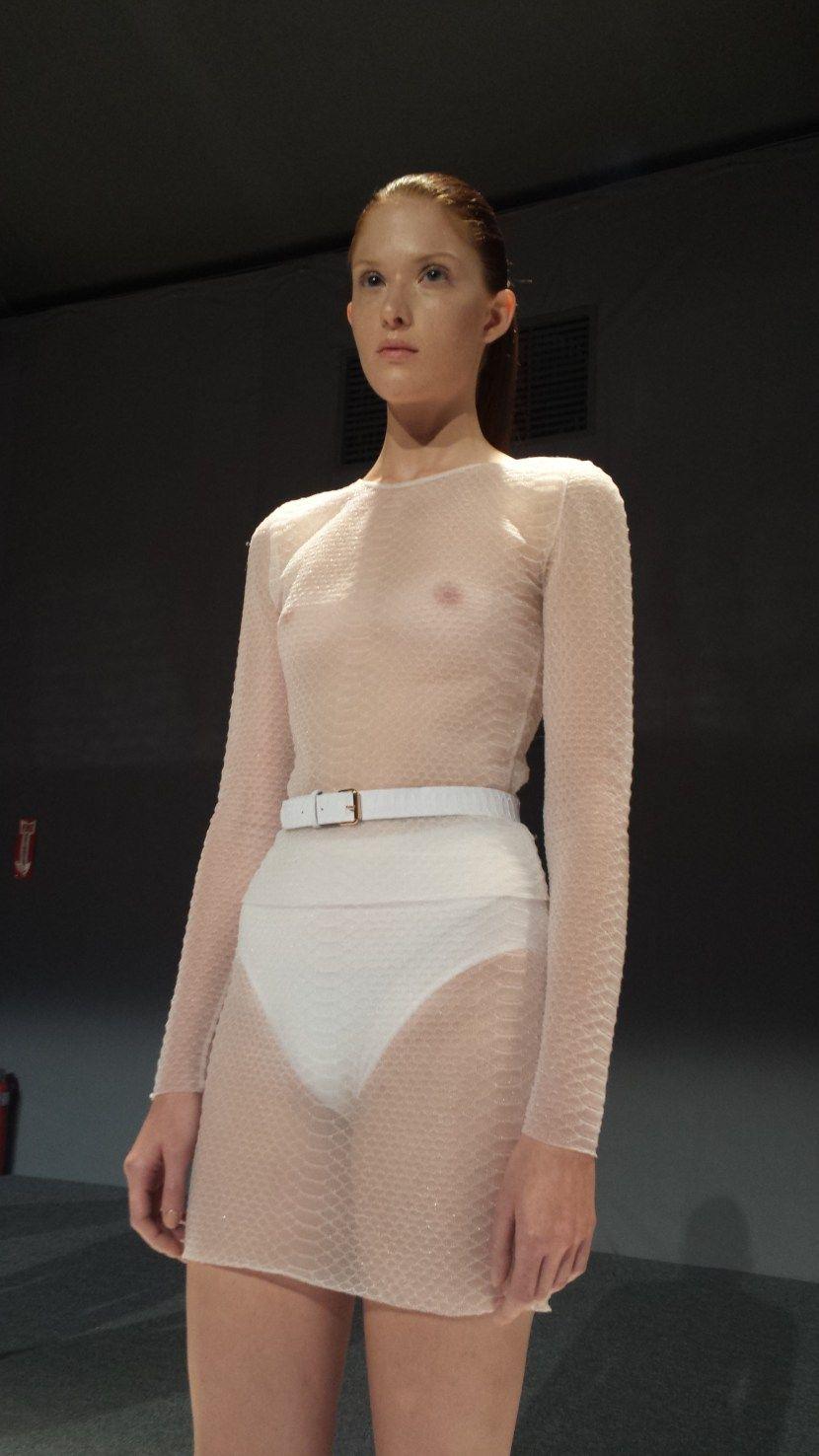 NSFW Fashion Week Trend: Sheer Shirts With No Bra