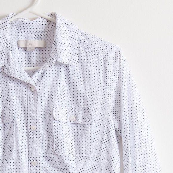 LOFT Button Down Polka Dot Top Polka Dot button down from LOFT. Perfect condition. LOFT Tops Button Down Shirts