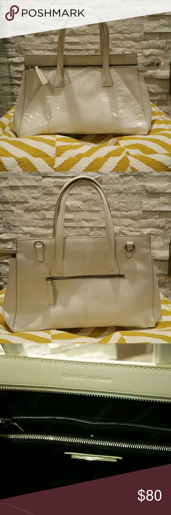 Charles Jourdan handbag Charles Jourdan white leather handbag.  Excellent used condition.  Shoulder strap and dust bag included. Charles Jourdan Bags Totes