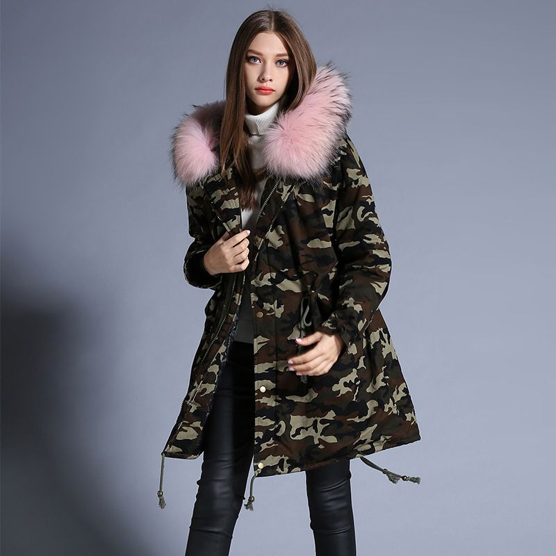cd24c77e5b58 Click to Buy    Plus 2016 winter Jacket Women Down Jackets Camouflage  raccoon