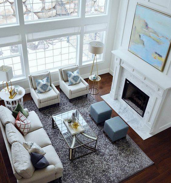 White Living Room With Tall Fireplace Room Furniture And