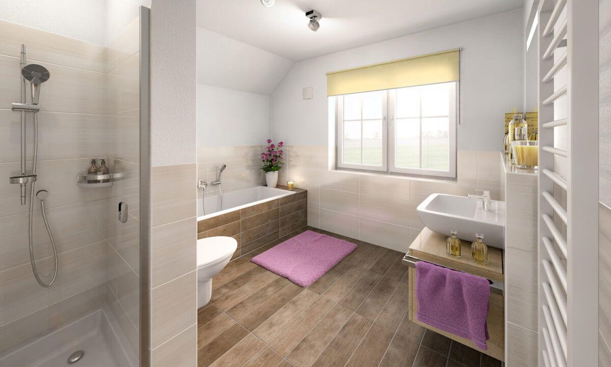 Haus badezimmer design badezimmer mit fliesen in holzoptik u badewanne unter dachschräge