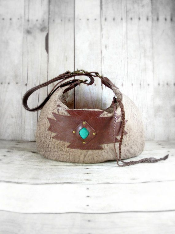 Leather Handbag, Southwestern Bag, Leather Hobo, Brown Leather bag, Aztec  Bag, Leather Cross Body, Hobo Purse, Turquoise Colored Stone 4d7e918212