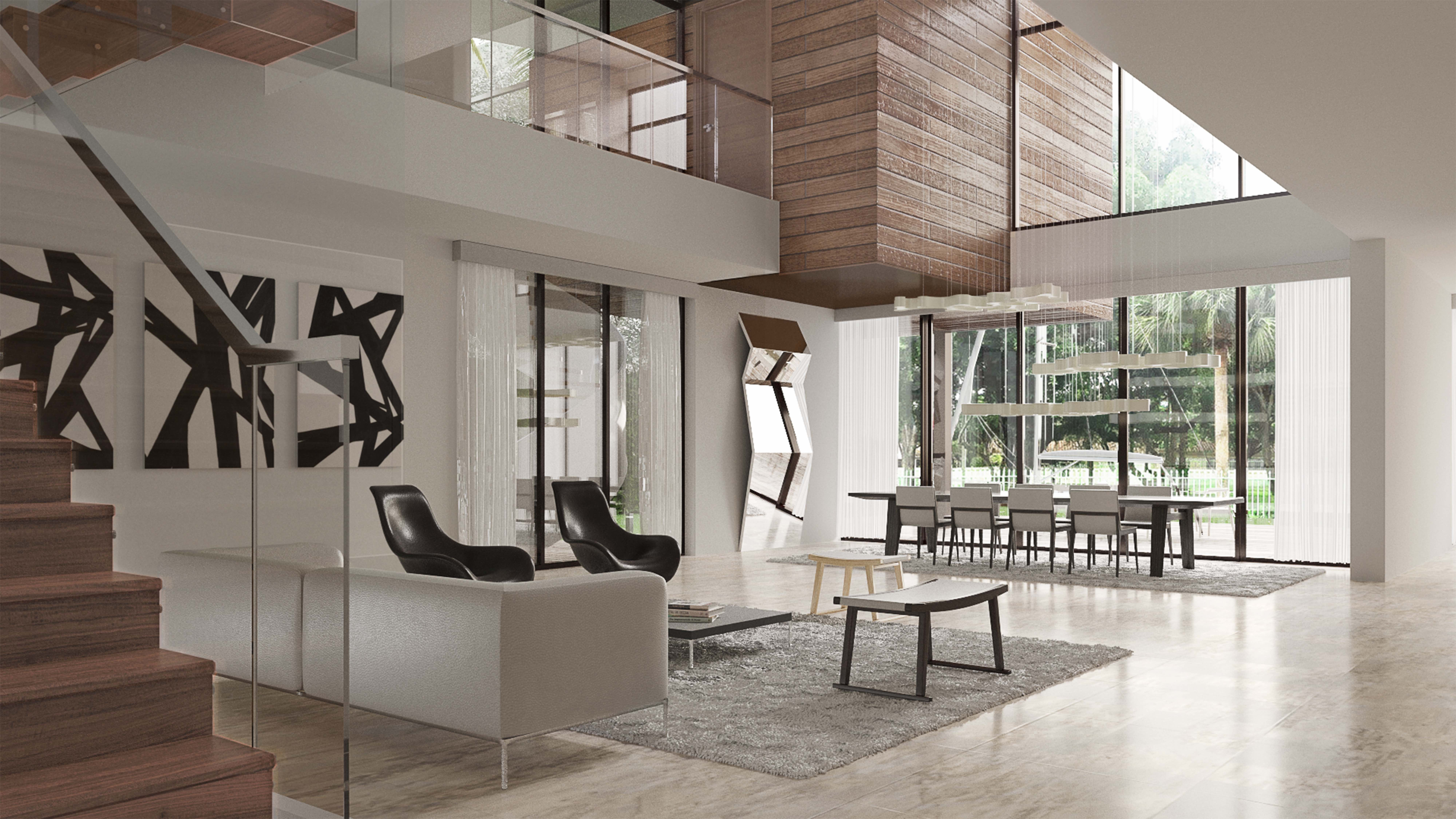 Elegant Open Living Room Space With Wood Stairs And High Ceilings