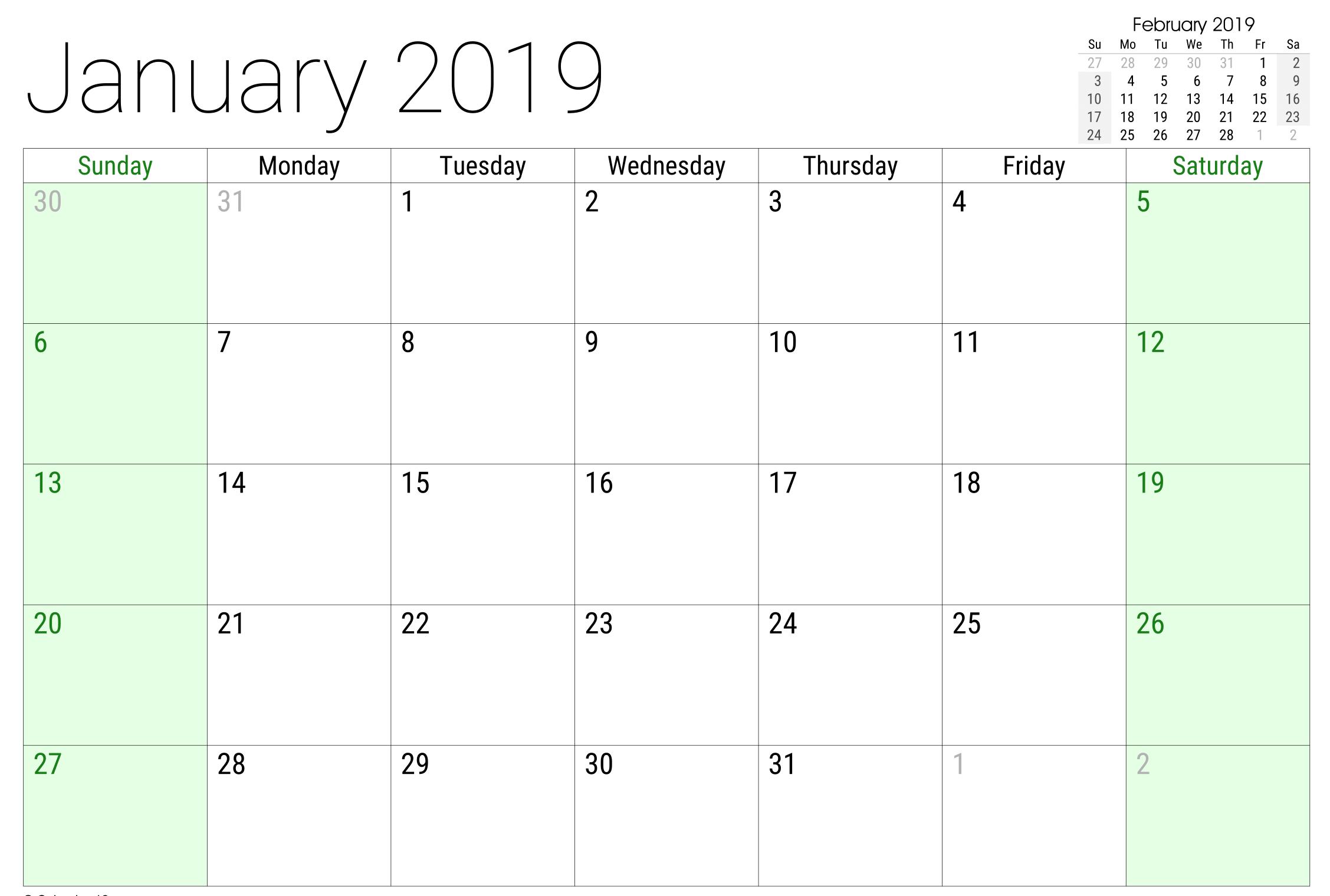 January 2019 Google Spreadsheet Calendar Editable Template