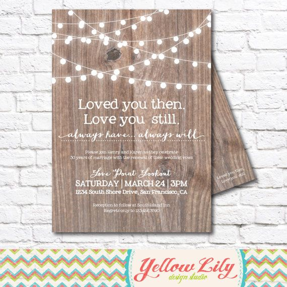 Vow Renewal Invitation- Wood   Vow Renewal   Marriage   Festoon - best of corporate anniversary invitation quotes