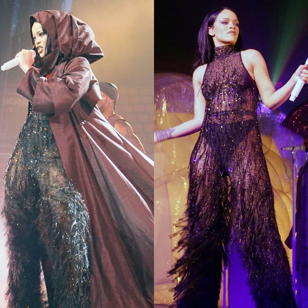 Rihanna Anti World Tour costumes Armani Prive hooded cloak and crystal fringe jumpsuit